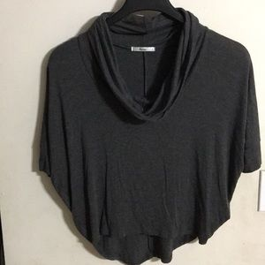 Cowl neck top, charcoal, Med